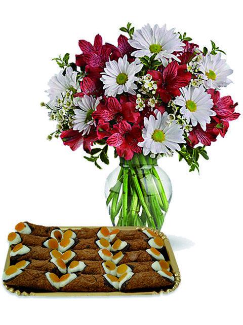 Bouquet di margherite con alstroemerie e cannoli.