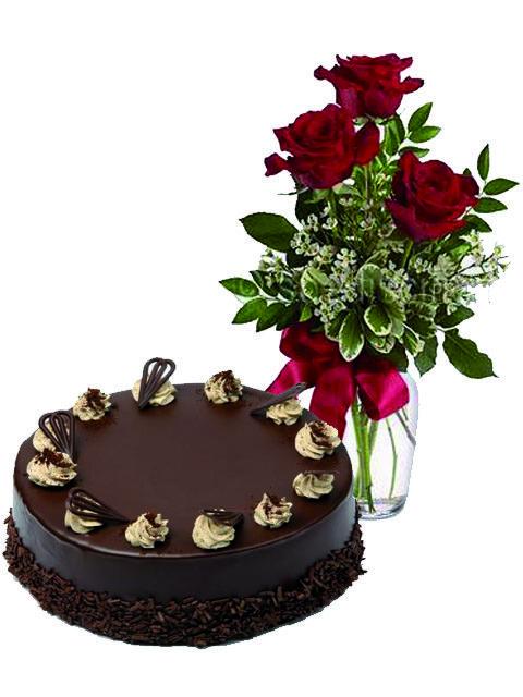 torta kinder con tre rose rosse