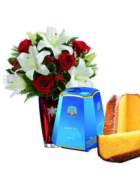 Bouquet di rosse rosse lilium e pandoro