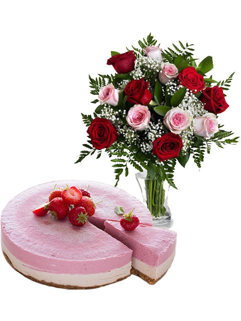cheesecake con rose rosse e rosa