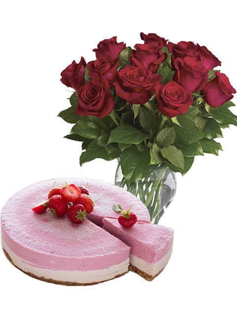 cheesecake con 12 rose rosse