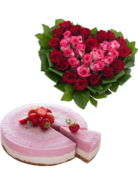 cheesecake con cuore di rose