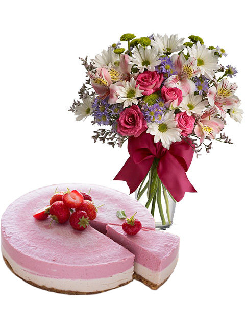 torta cheescake con bouquet beautiful