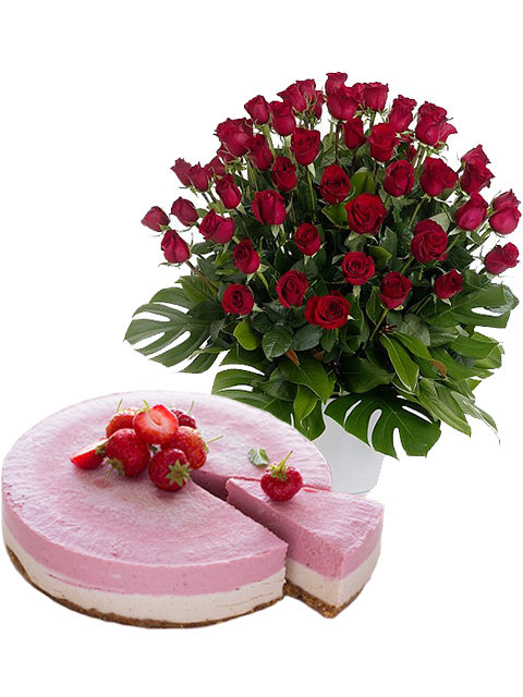 torta cheescake con 50 rose rosse