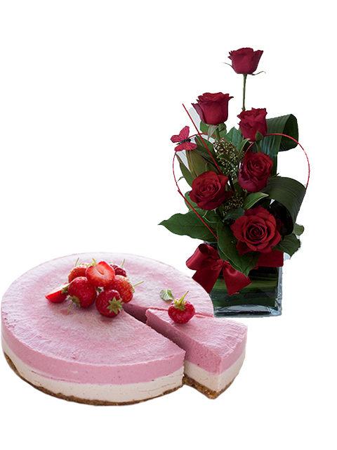 torta cheescake con sei rose rosse