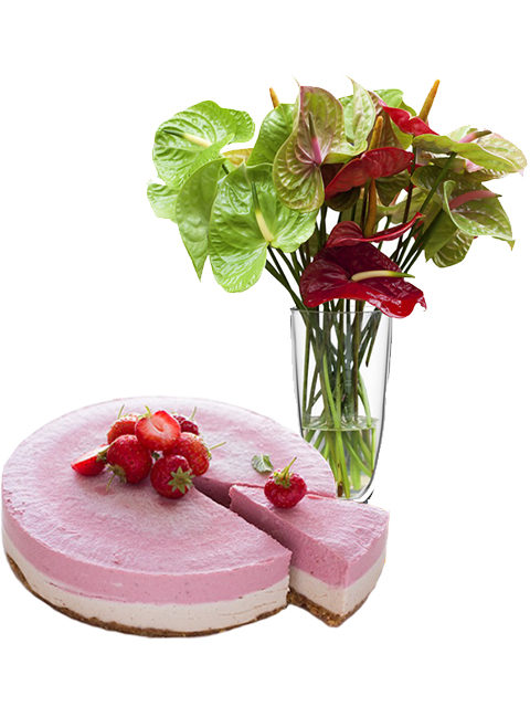 torta cheescake con anthurium