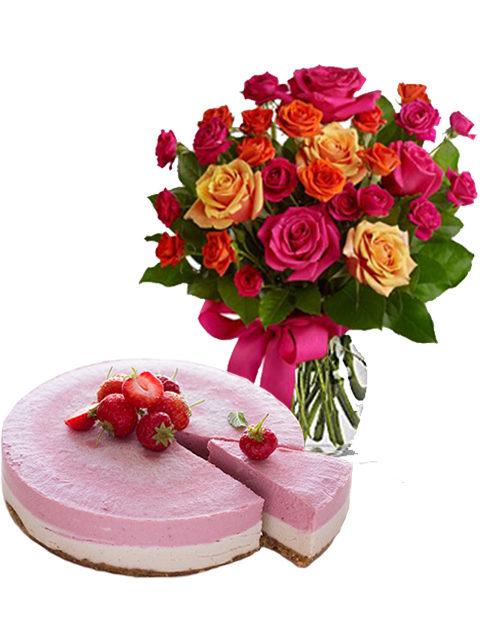 torta cheescake con roselline