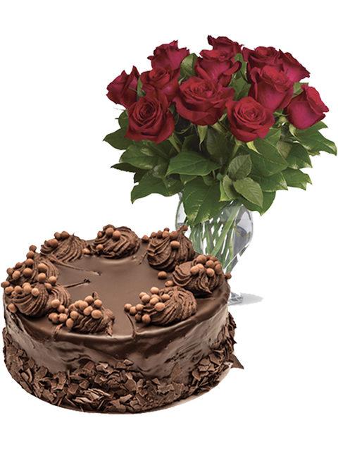 orta al cioccolato con bouquet di 12 rose rosse
