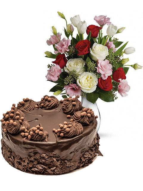 torta torta al cioccolato con bouquet di lisianthus