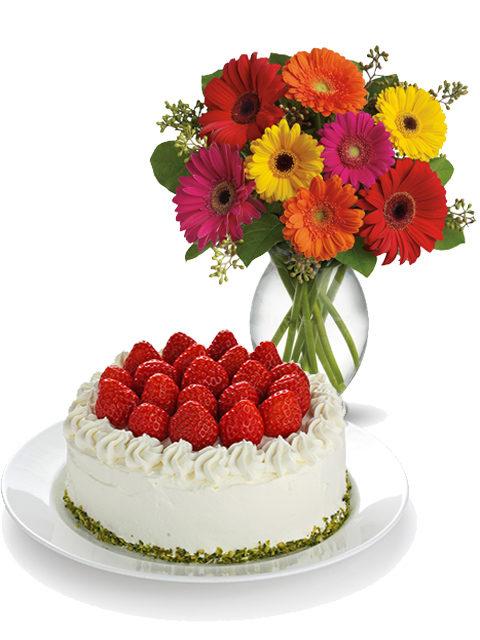 torta fragole crema e panna con gerbere