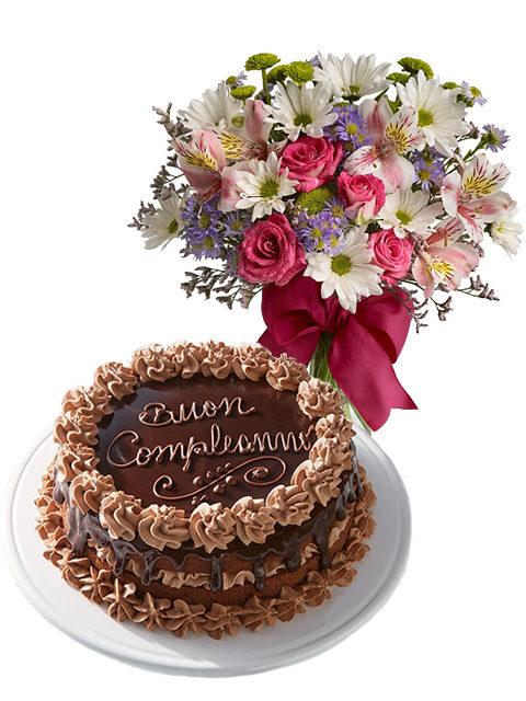 torta compleanno al cioccolato con fiori misti