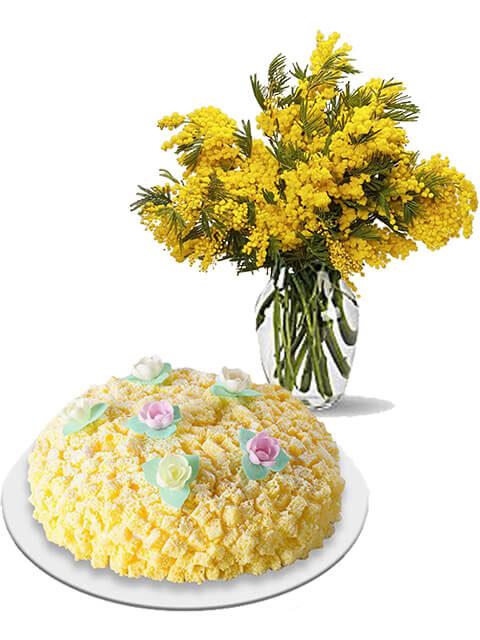 torta mimosa con bouquet di mimose